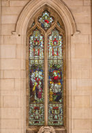 Christ blessing the children stained glass window